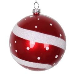 8 cm julekugle, perlemor, rød m/hvidt glitter