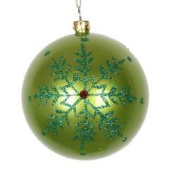 8 cm julekugle, perlemor, lime m/snefnug, rød simili og grøn glitter
