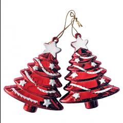 Juletræsophæng, sæt a 2 stk, 7x9 cm, rød med glitter