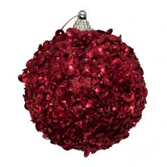 Julekugle, rød med palietter, 8 cm
