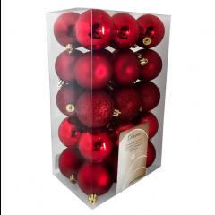 Julekugler, Rød mix, 6 cm, 30stk./boks