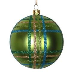 8 cm julekugle, mat, lime m/lime, guld, turkis scotch glitter