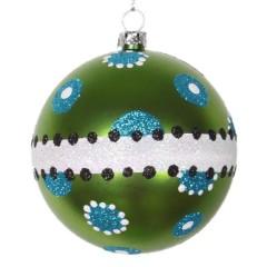 8 cm julekugle, mat, lime m/hvid, turkis, sort dot glitter og bælte