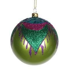 8 cm julekugle, perlemor, lime m/påfugl lilla, grøn, turkis, pink glitter