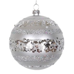 8 cm julekugle, mat, sølv m/horizontal sølv glitter bælter