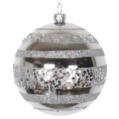 8 cm julekugle, blank, sølv m/horizontal sølv glitter bælter