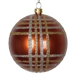8 cm julekugle, perlemor, kobber m/champagne og guld scotch glitter