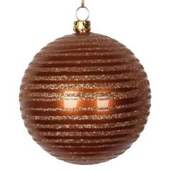 8 cm julekugle, perlemor, kobber med horizontal kobber glitter striber