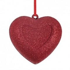 8 cm, Hjerte, rødt glitter
