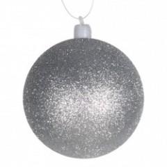 8 cm julekugle med glitter, sølv