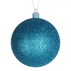 8 cm julekugle, glitter, turkis