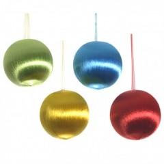 8 cm retro-kugler, satintråd, 4 stk i boks