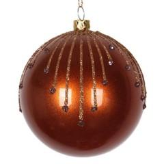 8 cm julekugle, perlemor, kobber m/stjerneskud kobber og choko glitter