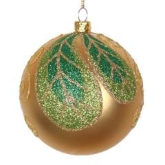 8 cm julekugle, mat, guld m/blad champagne, lime, grøn glitter