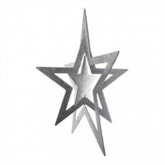 86 cm 3D stjerne, glitter, sølv