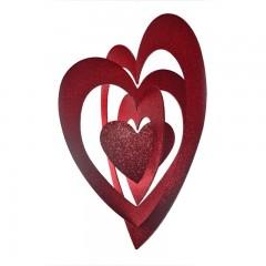 86 cm hjerte, 4D, glitter, rød
