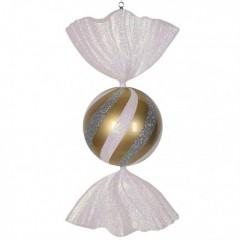 86 cm slik, perlemor guld med hvidt og sølvglitter