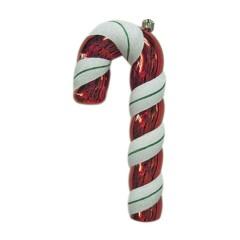 56 cm slikstok, blank, rød m/hvidt og grønt glitter
