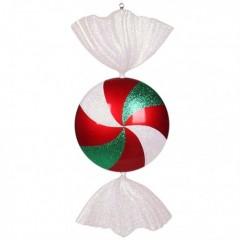 94 cm fladt slik, rødt med hvidt og grønt glitter
