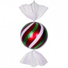 94 cm rundt slik, rødt med hvidt og grønt glitter