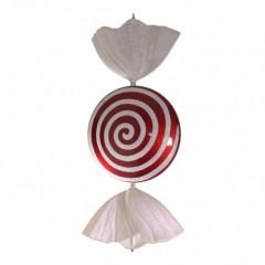 94 cm slik, flad rund, rødt med hvidt glitter