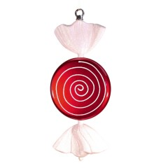 33 cm slik, flad rund, perlemor rød med hvidt glitter