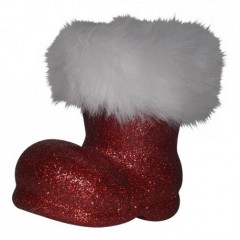 Julemandens støvle, 13 cm rød glitter