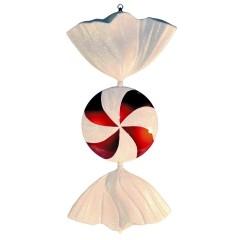 86 cm slik, flad rund, perlemor rød med hvidt glitter