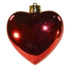 Hjerte, blank rød, 23 cm
