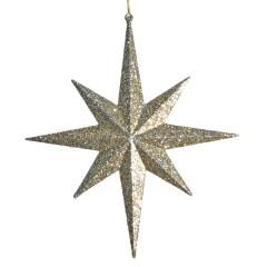 100 cm 8-punkt-stjerne, glitter, champagne